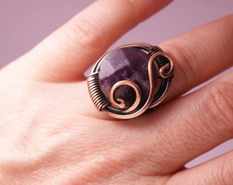 copper wire with amethyst ring wire wrapped jewelry handmade copper wire jewelry wire wrapped ring handmade