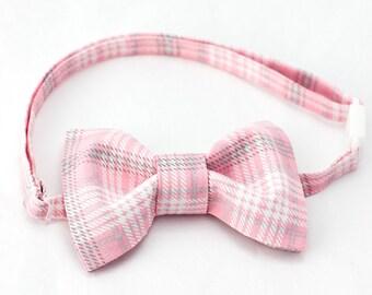 Pink, Grey & White Plaid Bow Tie - Boys Bow Tie, Pink Baby Bow Tie, Plaid Bowtie, Plaid Bow Tie for Boys, Boys Bowties, Wedding Bowtie Boy
