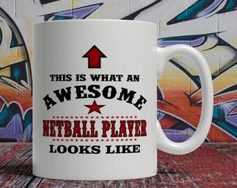 Netball mug, Netball gift, Netball coffee mug, Awesome Netball Player mug, netball coffee cup, personalized netball mug, netball kit E1044