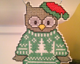 New Owl in Sweater Cross Stitch Christmas Ornament