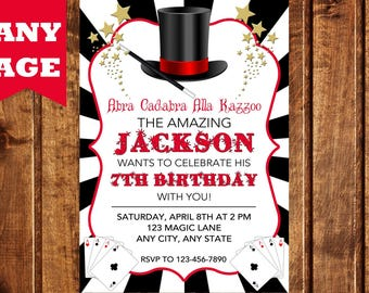 Magic Party Invitation, Magic Birthday Invitation, Magician Invitation, Magic Show Invitation, Magic Show Birthday Party, Magician Birthday
