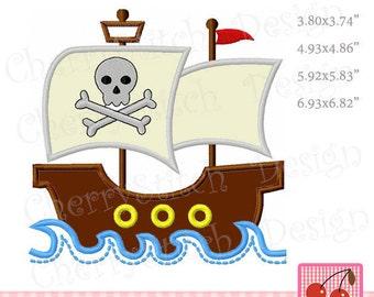 Pirate ship Machine Embroidery Applique Design TRANS05