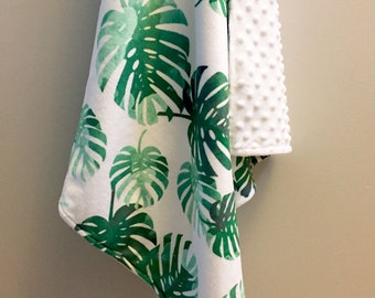 Tropical palms minky baby blanket - emerald green mint palm fronds leaves - tropical nursery - watercolor faux fur - girl baby shower gift