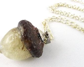 Necklace, dandelion, resin