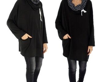 HR800SW2 tunic layered look shirt asymmetrical Gr. 40-52 black