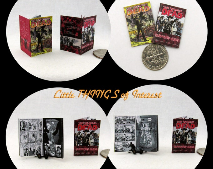 The WALKING  DEAD COMIC Book Dollhouse Miniature 1:12 Scale *2 For 1* Zombies