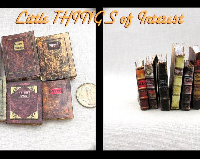 1:6 Scale VINTAGE DISNEY Set of 6 Prop Books Miniature Play Scale Book Barbie Scale Faux Books