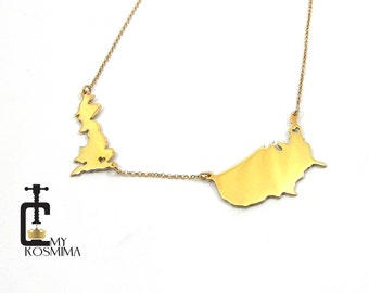 Two countries necklace, Two States Necklace, Any two State or Country Necklace ,Best Friendship Necklace,Best Friend Long Distance Necklace,