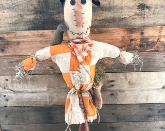 Primitive Scarecrow Make-do made from Vintage Cutter Quilt