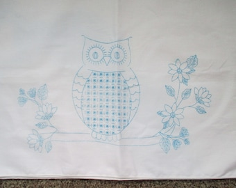 "Hand Stamped Set (2) Standard Pillow Cases to Embroider OWLS White 29"" x 20"""