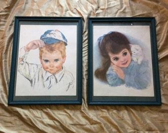 Frances Hook lithographs, vintage lithographs, vintage Frances Hook, Northern Tissue advertising prints, vintage advertising lithographs