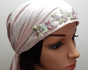 Light Pink Mitpachat, Chemo Scarf, Hair Scarf, Head Scarf, Head Covering, Head Warp, Cancer Scarves, Pink Lycra Ticehl, Women Bandana