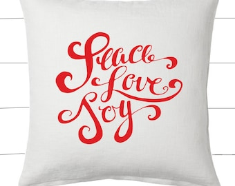 Red and White Peace Love Joy Christmas Pillow and Insert Christmas Decoration Christmas Saying Holiday Pillow Red White Christmas