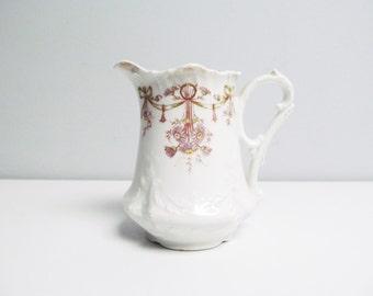 Vintage porcelain creamer or pitcher, Carl Tielsch porcelain creamer, Altwasser Germany, fine Porcelain, art deco 1920s ribbon Height 4.8 in
