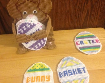 Easter Bunny Coaster Set, Easter Eggs, Gift for Kids, Plastic Canvas Coasters, Needlepoint, Easter Gifts, Kitchen Decor