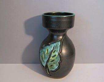 Mid Century Italian Ceramic Vase Incised Leaf Design Blue Turquoise Gunmetal Italy Stamp