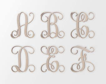 Unfinished Wooden Letters in the VINE MONOGRAM Font Style