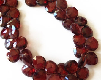 Garnet faceted briolettes.  Approx. 7.25x7.25mm - 7.5x7.5mm.   Select a quantity.