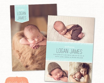 Birth Announcement Template Photo Collage -  Funky Lines CB083 - PSD Flat Card