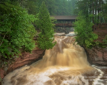 Waterfall Nature Photography, Amnicon Falls, State Park, Forest, Nature Spirits, Bridge, Wisconsin, Summer Fog, Serene, Green Brown White