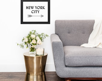 Black White New York City Arrow Typography Original Modern Home Office Decor Graphic New York City NYC Pattern Print Poster