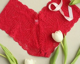 Rose Red French Knickers Lace from Brighton Lace. Lingerie gift for her.