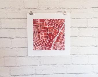 UT Austin Map Print