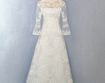Custom Wedding Dress Illustration Painting in Oil by Lara Mother of the Bride Bridesmaid Maid of Honor 5x7