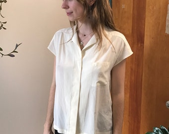 Vintage Creme Collared Button Down