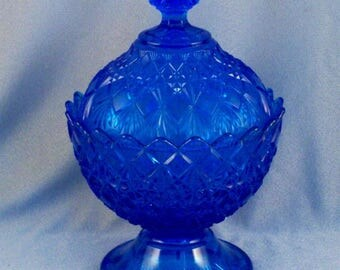 Vintage Cobalt Blue Glass Candy Dish // Covered // Pedestal // Unique //