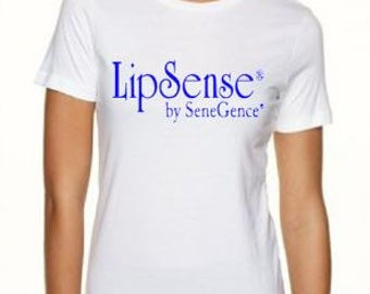 LipSense Royal Blue Logo Tee, Ladies LipSense Tee, Ladies Crew Neck Tee, Ladies V-Neck Tee, Lips, Kiss, LipSense, SeneGence, Distributor