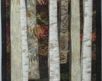 Art Quilt Birch Trees in Deep Woods 2, Wall Quilt, Wall Hanging, Landscape, Nature