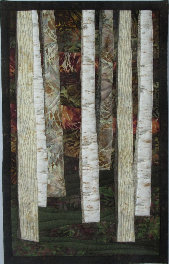 Art Quilt Birch Trees in Deep Woods 2, Wall Hanging