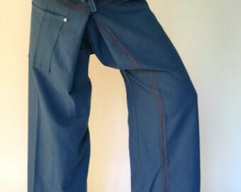 FZ0005 Thai Fisherman Pants Wide Leg pants, Wrap pants, Unisex pants, Thai Fisherman Pants, Cotton