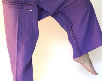 FZ0013 Light Purple Hand Sewing Inseam design for Thai Fisherman Pants Wide Leg pants, Wrap pants, Unisex pants