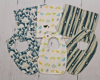 Blues, ORGANIC Baby Bib and Burp Cloth, Newborn, Baby Shower Gift, Choose fabric, Build a Set, Toadstools, Birds, Bark