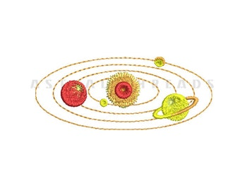 Solar system embroidery machine digital design astral threads