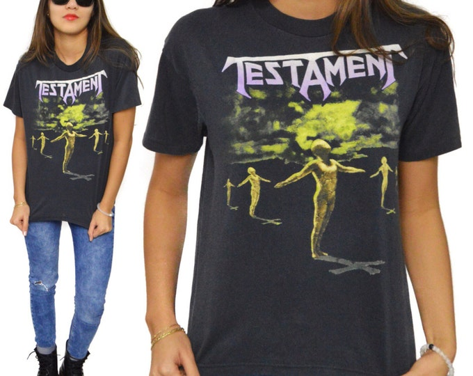 Vintage 80s Testament Practice What You Preach Tour Thrash Metal T Shirt Sz M