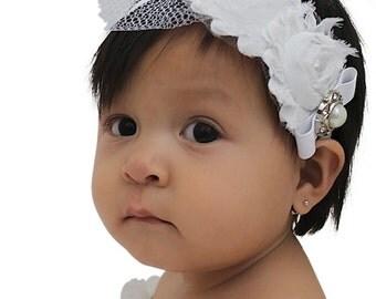 Baptism Headband, White Headband, Flowers Headband, Newborn Headband, Headband for Baptism, Flower Girl Headband, Flower Girl Wedding