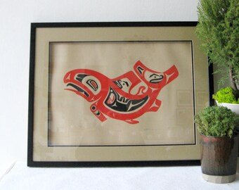 Salmon - Art Thompson Limited Edition Serigraph Print - Vintage Framed Art Print - Native Canadian Art - First Nations Art - Fish Wall Decor
