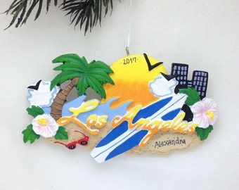 FREE SHIPPING Los Angeles Personalized Christmas Ornament / Los Angeles Ornament / Los Angeles Souvenir / Christmas Ornament / L.A.