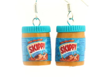 Peanut butter earrings Skippy inspired kawaii miniature food jewelry