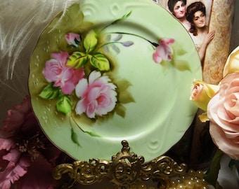 1950s Vintage// Heritage Green // Pink Roses // Salad Plate // Lefton NE 3068