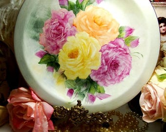 Beautiful Vintage Hand Painted Rose Plate with Gold Rim
