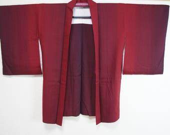 Japanese red gradation haori, Vintage kimono jacket red black stripes, haori jacket modern geometric, red minimalist cool Japan jacket