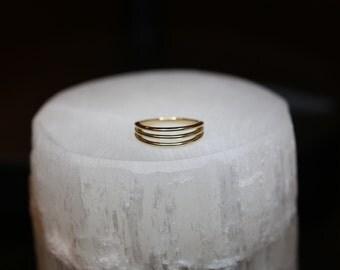 Triple Band Negative Space Ring, 14K Solid Gold / Size 7.5, Stacked, Three 3, Minimalist Modern, Stacking Layered, Row, Minimal, Avery Blake
