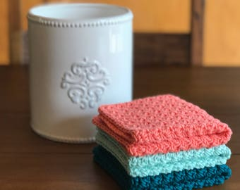 Crochet Dishcloth Set - Modern Kitchen Decor - Kitchen Towels - Knit Dishcloth - Cotton Dishcloth - Crochet Washcloth - Housewarming Gift