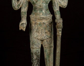 """19th Century Antique Bronze Vishnu Statue - Protector & Preserver - 53cm/21"""""""