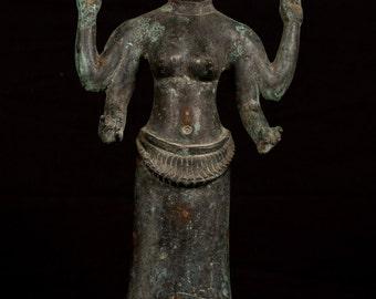 """19th Century Antique Bronze Vishnu Statue - Protector & Preserver - 33cm/13"""""""