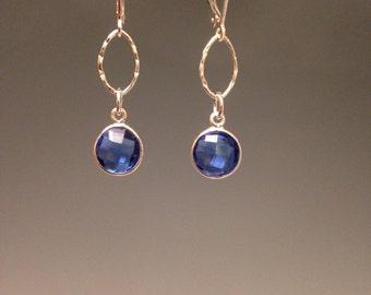 Blue earrings ~ Sterling silver earrings ~ Blue Jewelry ~ jewelry gift - minimalist jewelry ~ elegant jewelry - Blue Drop Earrings